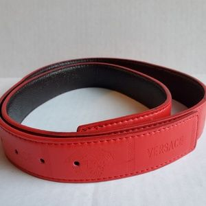 Versace Red Leather Belt 49.5in 50/125